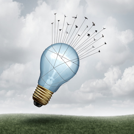 Creative connect and social thinking symbol as a group of birds pulling upward a giant lightbulb as a creativity and inspiration metaphor with 3D illustration elements. Stock Photo