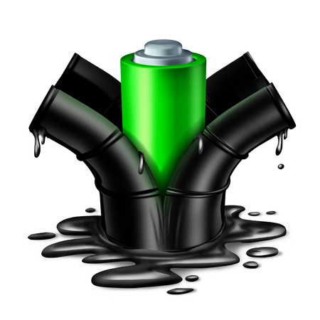 fossil fuels: Battery energy concept as a green clean fuel electric object breaking out of a dirty oil can with dripping petroleum as a power technology symbol for the replacement of fossil fuels as a 3D illustration on a white background.