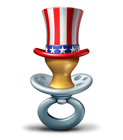 American maternity concept as a baby pacifier wearing a United States flag hat as a pregnancy and early child care icon or adoption in America as a 3D illustration on a White Background.