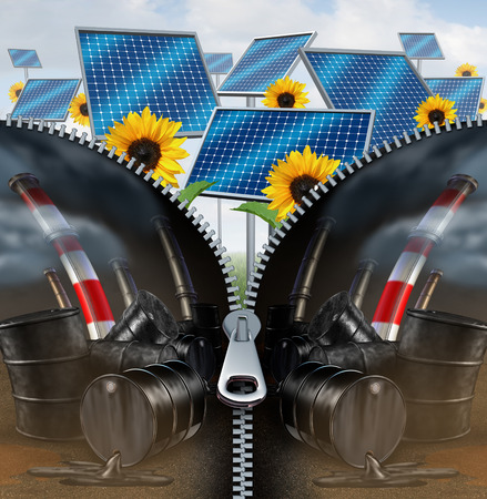 fossil fuel: Solar energy and fossil fuel concept as a green clean electric fuel with a zipper removing the old industry of oil cans with dripping petroleum and smoke stacks as a power replacement technology symbol as a 3D illustration on white. Stock Photo