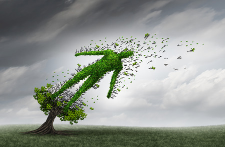 problemi di salute concetto e simbolo sofferenza umana come un albero a forma di come una persona di essere soffiati e stressati dai forti venti di tempesta come l'assistenza sanitaria icona medica crisi di assicurazione con elementi illustrazione 3D.