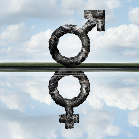 Equal rights concept as a symbol of a male creating a reflection of a female icon as an equality of men and women in society and employment issues as a metaphore with 3D illustration elements. Stock Photo