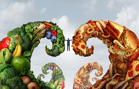 alimentos saludables: Entre las dietas de alimentos y la lucha elección nutrición como una persona que tenga dos oleadas de frutas y verduras y la comida chatarra en un estilo de ilustración 3D como símbolo de desafíos alimentarios y las dietas. Foto de archivo