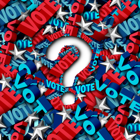elect: Vote election question as a symbol for an American government campaign to decide the choice in a candidate for president or senator or congress as a ballot decision icon as a 3D illustration.