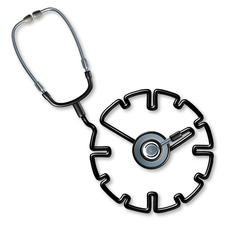 general manager: Medical examination appointment concept as a doctor stethoscope shaped as a clock or watch as a symbol for a hospital appointment and patient care or surgery schedule management as a 3D illustration.