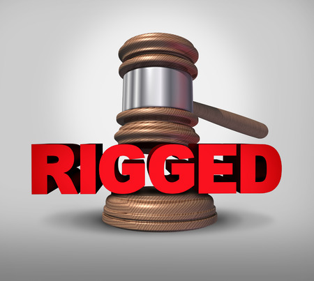 dishonest: Concept of fraud and corrupt system giving an unfair advantage as text with the word rigged with a justice mallet as a metaphor for unfair illegal fraudulent behavior as a 3D illustration. Stock Photo