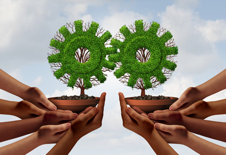 Teamwork partnership group concept as a team of hands holding a tree shaped as a gear or cog with 3D illustration elements as a business connected collaboration metaphor. Stock Photo