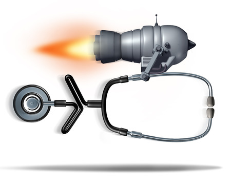 quickly: Fast medical service concept as a jet engine quickly moving a doctor stethoscope as a health care symbol for urgent hospital care or faster clinical services as a 3D illustration.