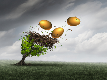 Retirement fund crisis concept as a tree in peril with a nest and gold eggs falling out during a destructive thunder storm as a metaphor for financial investment problems for retiring seniors or financial debt stress symbol with 3D illustration elements. Stock Photo