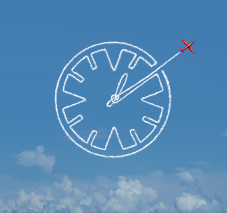 dexterity: Time skill business schedule management skills as a jet airplane creating an air show smoke trail shaped as a clock as a schedule and date planning icon with 3D illustration elements.