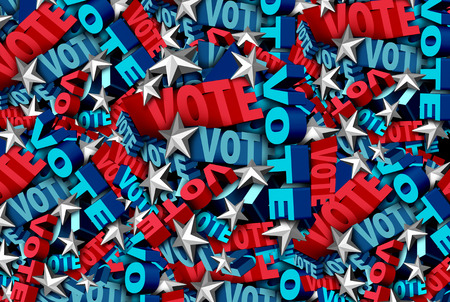 Vote background and election symbol for an American government campaign to decide the choice in a candidate for president or senator or congress as a ballot decision icon as a 3D illustration.