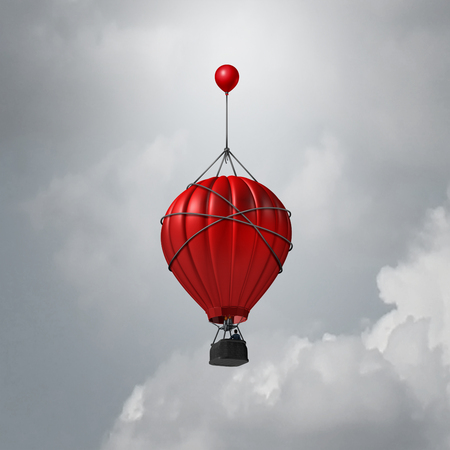 backing: Business support idea as a hot air balloon being helped to rise higher by a smaller one as a relief and improvement metaphor with 3D illustration elements. Stock Photo