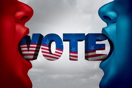 United States election voter and American vote campaign fight as Republican versus Democrat as two people with open mouths with text as a presidential or senatorial and gouvernment candidate choice with 3D illustration elements.