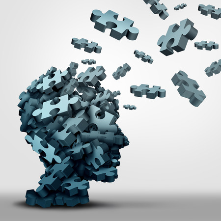 Dementia puzzle concept brain health problem symbol as a neurology and psychology icon as a a group of 3D illustration jigsaw pieces shaped as a human head as a mental health or memory loss disorder. Stock Illustration - 65794571