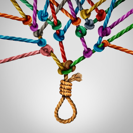 Social suicide concept as a sociology metaphor for crowd or herd mentality and group decisions resulting in violence or population death as a network of connected ropes tied together with a noose at the root of the institution. Stock Photo