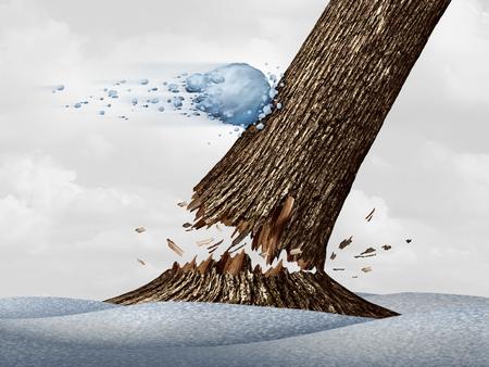 boule de neige: l'excitation d'hiver concept comme un excès de vitesse de vol de boule de neige frapper un arbre et de briser le tronc comme une icône de l'activité saisonnière de neige amusant avec des éléments d'illustration 3D.