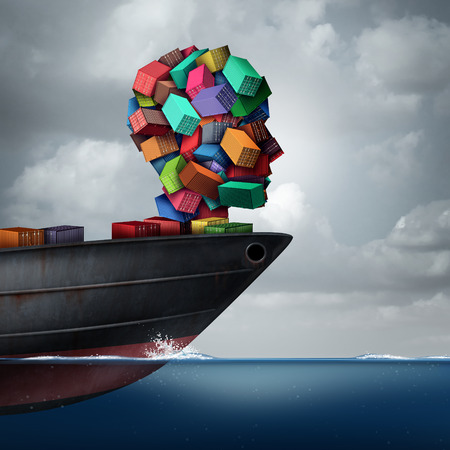 global trade: Shipping cargo concept as a global container tanker ship transporting freight shaped as a human head as a transportation and trade metaphor with 3D illustration elements. Stock Photo