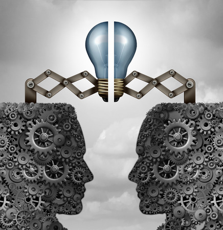 business group: Concept of creativity partnership and creative group cooperation as a bunch of gears and cogs shaped as open minded heads with a lightbulb puzzle connecting together as a 3D illustration.