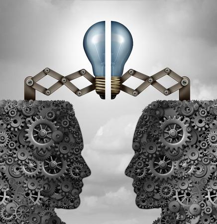 Konzept der Kreativität Partnerschaft und kreative Gruppe Zusammenarbeit als ein Bündel von Getriebe und Zahnräder als aufgeschlossene Köpfe mit einer Glühbirne Puzzle förmigen Verbindungs ??zusammen als eine 3D-Darstellung. Standard-Bild