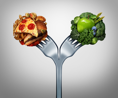 Unhealthy and healthy food and diet decision concept and nutrition choices dilemma between healthy good fresh fruit and vegetables or cholesterol rich fast food with a dinner fork divided in two with 3D illustration elements.