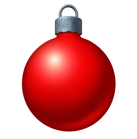christmas celebration: Christmas ball ornament as a red winter holiday sphere decoration as a seasonal ornamental design element isolated on a white background as a 3D illustration.