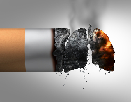 Lungs and smoking medical concept as a lit cigarette with the ashes shaped as a human breathing organ as a nicotine addiction and smoking habit risk with 3D illustration elements.