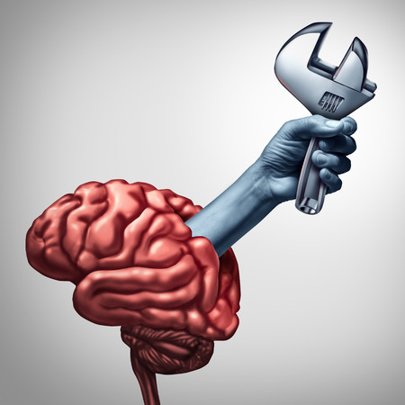 Brain repair psychotherapy  or neurology surgery health care concept as a hand emerging from a human thinking organ holding a wrench as a medicine medical symbol of mind therapy or psychiatry and psychology with 3D illustration elements.