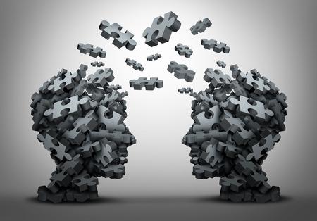 escuchar: Solución de cambio y traslado de ideas concepto como un conjunto de piezas de un rompecabezas en forma de como dos cabezas humanas intercambio de respuestas a retos como la solución de un problema de negocio metáfora motivación como una ilustración 3D. Foto de archivo
