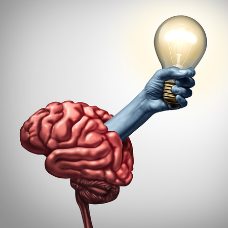 invent clever: Find inspiration concept as an arm holding an illuminated lightbulb emerging out of a brain as an innovation metaphor for the power of ideas and creative inspiration success with 3D illustration elements. Stock Photo