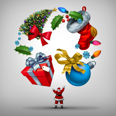 holiday celebrations: Christmas holiday planning and organizing new year celebrations as santa clause juggling a group of  yuletide items as a gift and tree with winter festive objects as lights and xmas decorations with 3D illustration elements.