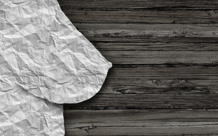 Breast Health-Konzept wie zerknittertes Papier in Form einer Brustdrüse auf rustikalem Holz vertreten weibliche medizinische Fragen im Zusammenhang mit Stillen oder Krebs in einer 3D-Darstellung Stil. Standard-Bild - 65565989