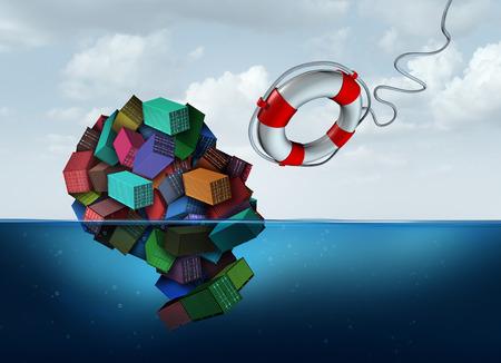 Verzending en vracht hulp als een groep van vrachtcontainer de vorm van een menselijk hoofd, dat is verdrinken in de oceaan met een life saver komt naar de redding als een export en import logistiek beheer symbool met 3D illustratie elementen.