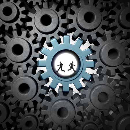 counteract: Partnership problem concept and diametricaly opposed vision as a business confrontation or personal separation as a businessman and businesswoman running in a gear in opposite directions with 3D illustration elements. Stock Photo