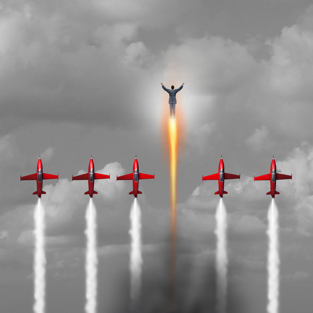Great outstanding Businessman concept as a group of jet airplanes flying upward with a person blasting ahead with a rocket boost as a power metaphor for energetic business or personal stamina and inner energy with 3D illustration elements.