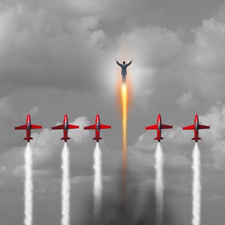 Grote uitstekende Zakenman begrip als een groep van straalvliegtuigen vliegen omhoog met een persoon explosieven vooruit met een raket boost als een macht metafoor voor energieke zakelijke of persoonlijke uithoudingsvermogen en innerlijke energie met 3D illustratie elementen. Stockfoto
