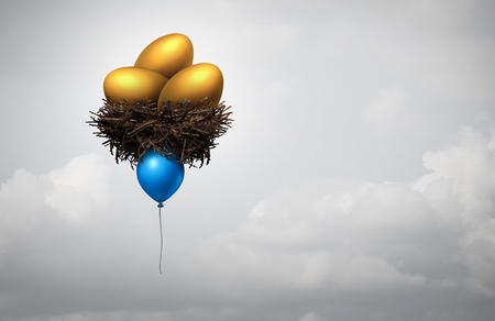 gold eggs: Financial investment guidance concept as a blue balloon lifting a nest with gold eggs as a banking or investing metaphor for retirement fund risk or income direction decision with  3D illustration elements.