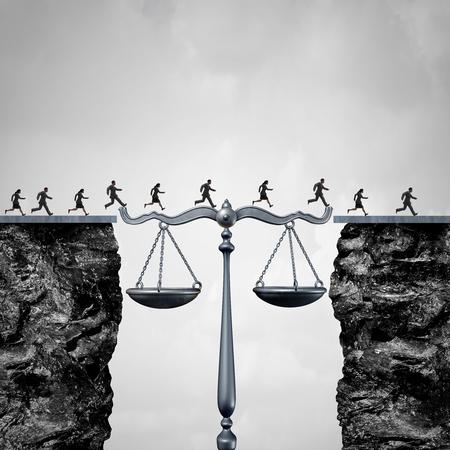 Concetto di soluzione legale e legale come un gruppo di avvocati o uomini d'affari e donne d'affari che attraversano due scogliere con l'aiuto di una bilancia della giustizia che funge da ponte per il successo dei servizi legali con elementi di illustrazione 3D.