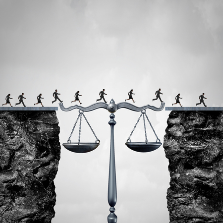 Law and attorney solution concept as a group of lawyers or corporate businessmen and businesswomen crossing two cliffs with the help of a justice scale acting as a bridge to legal services success with 3D illustration elements.