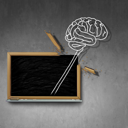 Think outside the box concept as a chalk drawing of a human brain breaking out of a blackboard as a metaphor for thinking powerful new ideas with 3D illustration elements.
