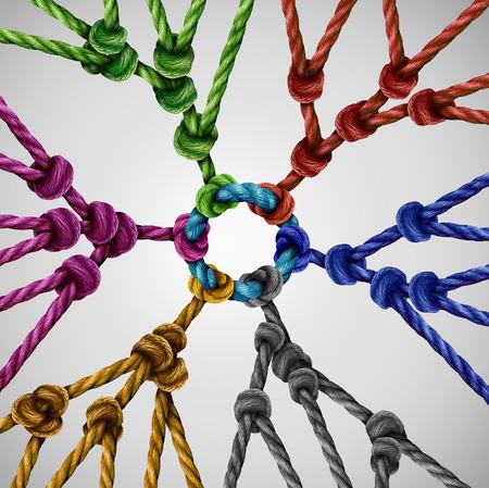 les groupes de l'équipe réseau que diverses équipes individuelles qui se réunissent connectés à un point central comme un concept de communication abstrait avec des cordes liées de différentes couleurs comme une métaphore pour la connexion sociale.