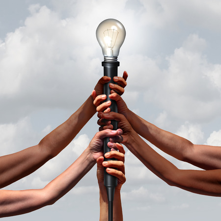 Idea team group as diverse people holding an electric light socket with an illuminated lightbulb as a connected community insight or social thinking concept with 3D illustration elements.