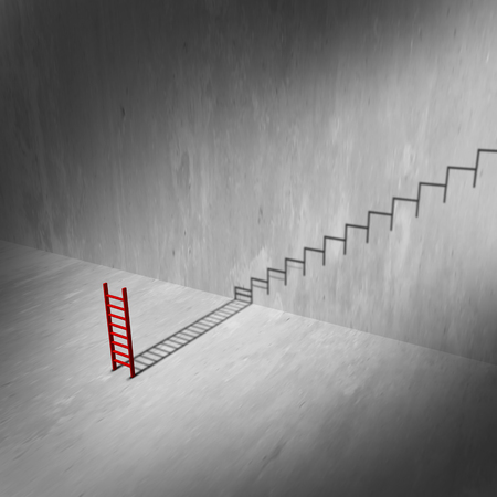 ambition: Success ladder and stairs concept as a climbing tool casting a shadow of a staircase or stairs as an infinite rise to success metaphor and ambition symbol as a 3D illustration.