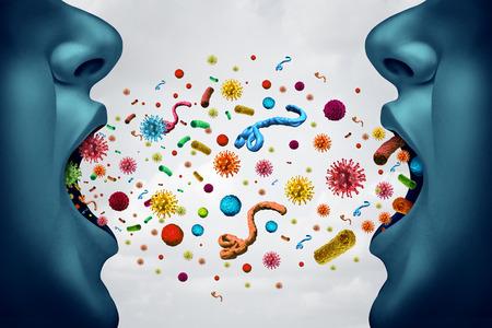 医療概念と感染症拡散病は、細菌ウイルスおよび細菌伝染性病原体の危険 3 D イラストレーション要素として医療リスク概念として空中オープン口で
