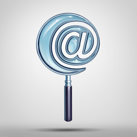 recieve: Email and internet search technology concept as a magnifying glass shaped as an e-mail symbol or at sign icon as a cyber and website address  metaphor as a 3D illustration.