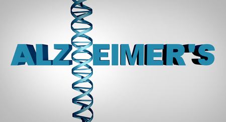alzheimers: Alzheimer and alzheimers disease genetics as text with a dna double helix strand as a dementia mental health and neurological medical gene therapy and brain research concept as a 3D illustration.
