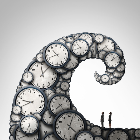 overwhelmed: Overwhelmed schedule and overtime working hours concept as people looking at a giant wave made of time clock objects with 3D illustration elements.