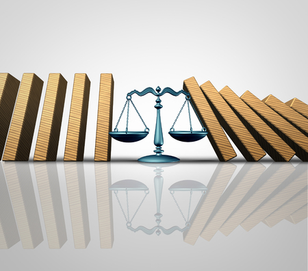 solver: Legal help and lawyer services concept as a group of falling domino pieces being supported by a justice scale as a law aid and solving problems metaphor as a 3D illustration.