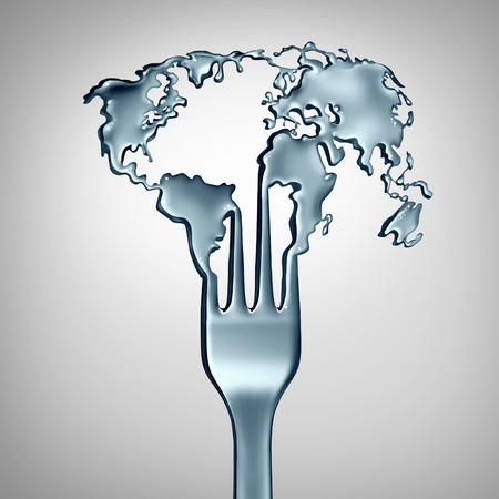 Global food conceptand world cuisine symbol as a metal fork shaped as the planet earth as a metaphor for international restaurant meals or appetite and hunger in society as a 3D illustration.
