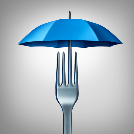 3 차원 그림으로 신선도 및 위생 또는 오염 방지 아이콘으로 우산 모양의 포크로 음식 보호 및 먹는 안전 기호.