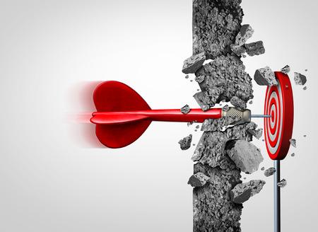 Rompiendo barreras para el éxito sin límites y superar los obstáculos como un muro de hormigón para lograr un objetivo como una metáfora de una cura o los objetivos de negocio y golpear un objetivo financiero con elementos de ilustración 3D.